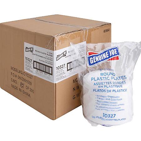 "Genuine Joe Reusable Plastic White Plates - 6"" Diameter Plate - Plastic - Disposable - 1000 Piece(s) / Carton"
