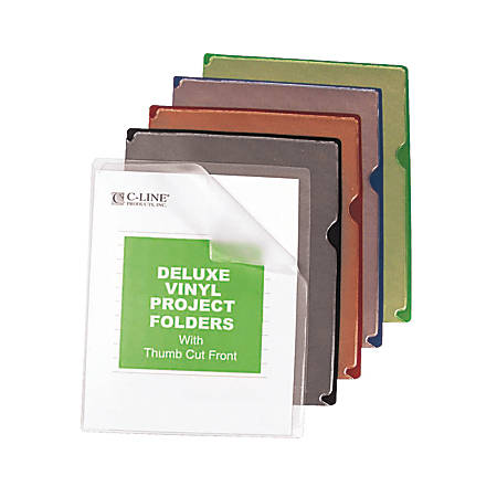 C-Line Deluxe Colored Back Vinyl Folders, Letter Size, Assorted Colors, Box Of 35 Folders