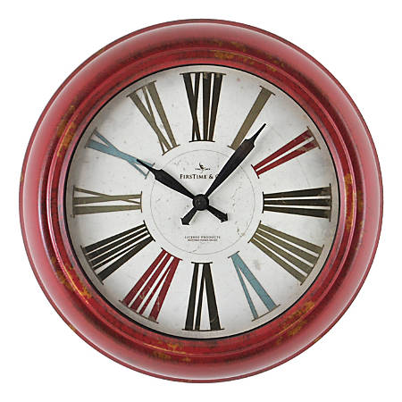 FirsTime & Co.® Relic Wall Clock, Distressed Red