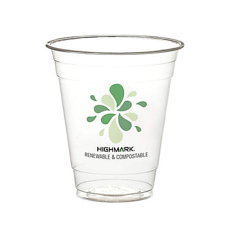 Highmark® Compostable Cold Drink Cups, 12 Oz, Clear, Pack Of 500