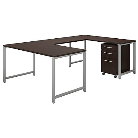 """Bush Business Furniture 400 Series U Shaped Table Desk With 3 Drawer Mobile File Cabinet, 60""""W x 30""""D, Mocha Cherry, Standard Delivery"""