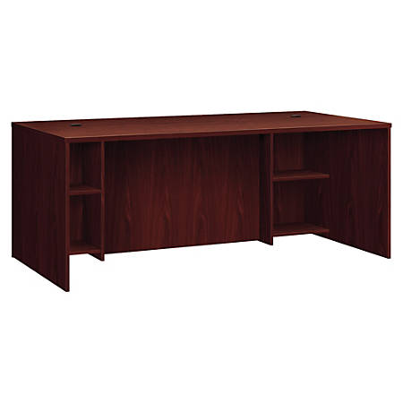 "HON BL Breakfront Desk Shell - 72"" x 36"" x 30"", Top - Square Edge - Material: Particleboard Modesty Panel, Metal Fastener - Finish: Mahogany, Thermofused Laminate (TFL) Top, Black Grommet"