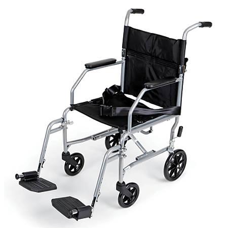 """Medline Basic Steel Transport Chair, 19"""" x 16"""", Chrome"""