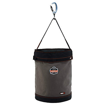 "Ergodyne Arsenal® 5945T Swiveling Carabiner Canvas Hoist Bucket With Top, 20"" x 16"", Gray"