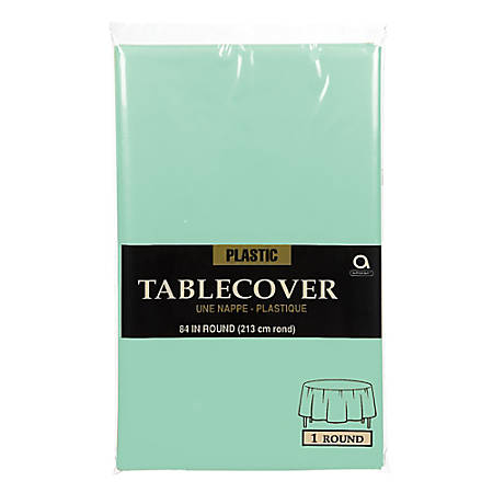 """Amscan Round Plastic Table Covers, 84"""", Cool Mint, Pack Of 5 Table Covers"""