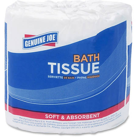 """Genuine Joe 2-ply Standard Bath Tissue Rolls - 2 Ply - 3.20"""" x 4"""" - 500 Sheets/Roll - White - Perforated, Absorbent, Soft - 96 / Carton"""