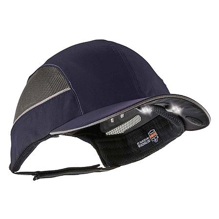 Ergodyne Skullerz 8960 Bump Cap With LED Lights, Long Brim, Navy