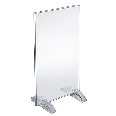 """Azar Displays Dual-Stand Acrylic Vertical/Horizontal Sign Holders, 8 1/2"""" x 14"""", Clear, Pack Of 10"""