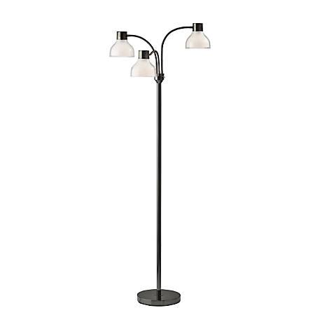 "Adesso® Presley 3-Arm Floor Lamp, 69""H, Clear Shade/Black Nickel Base"