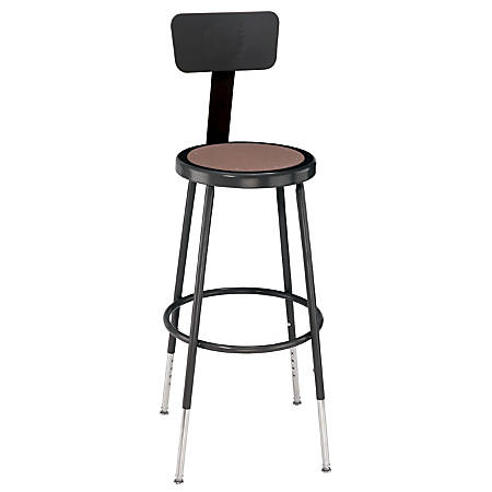 "National Public Seating Adjustable Hardboard Stool With Back, 38 - 47 1/2""H, Black"
