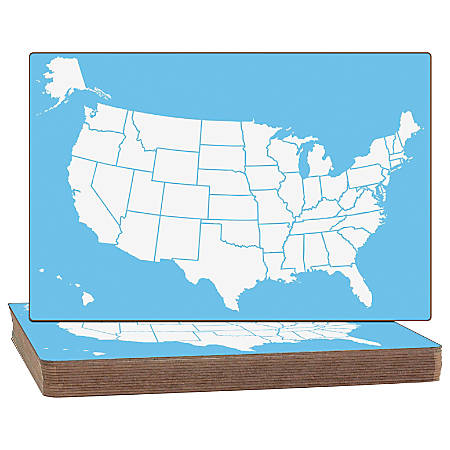 """Flipside US Map Dry-erase Board - 18"""" (1.5 ft) Width x 12"""" (1 ft) Height - White/Blue Surface - Rectangle - 12 / Set"""