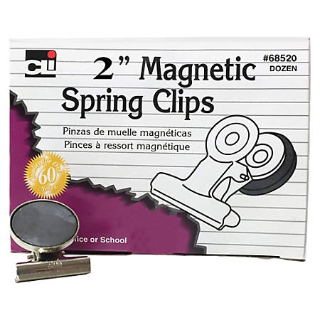 "CLI Magnetic Spring Clips - 2"" Length - 12 / Box"
