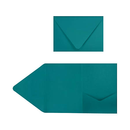 "LUX Pocket Invitations, A7, 5"" x 7"", Teal, Pack Of 20"