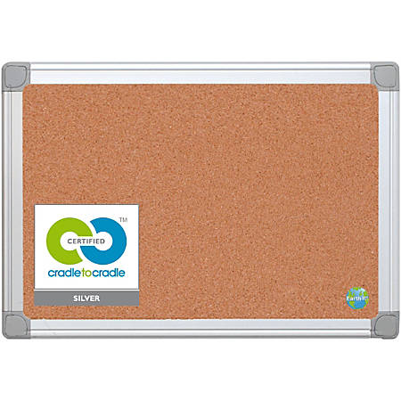 """MasterVision Aluminum Frame Recycled Cork Boards - 17.72"""" Height x 23.62"""" Width - Natural Cork Surface - Durable, Resilient, Self-healing, Environmentally Friendly, Reinforced - Silver Aluminum Frame - 1 Each"""