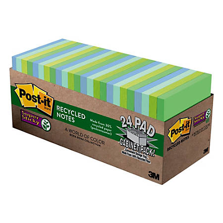 "Post it® Super Sticky Recycled Notes, 3"" x 3"", Bora Bora, Pack Of 24 Pads"