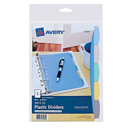 "Avery® Write & Erase Plastic Dividers, 8 1/2"" x 5 1/2"", Multicolor, 5-Tab"
