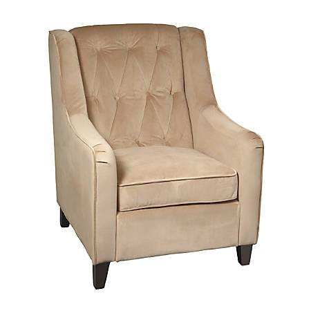 Ave Six Curves Tufted-Back Armchair, Coffee Velvet/Espresso