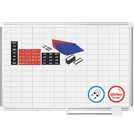 """MasterVision Platinum Pure 1""""x2"""" Grid Planning Board - 48"""" (4 ft) Width x 36"""" (3 ft) Height - Pure White Surface - Aluminum Aluminum Frame - Rectangle - Wall Mount - 1 Each"""