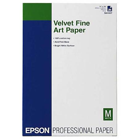 """Epson® Velvet Fine Art Paper, 13"""" x 19"""", White"""