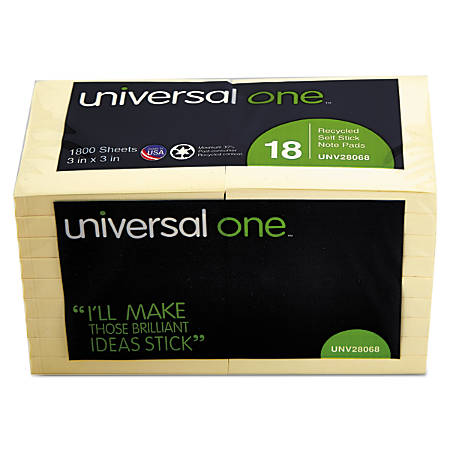 "Universal® Sticky Notes, 3"" x 3"", 30% Recycled, Yellow, 100 Sheets Per Pad, Pack Of 18 Pads"