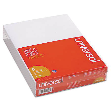 """Universal® Bulk Scratch Pads, 8 1/2"""" x 11"""", Unruled, 200 Pages (100 Sheets), White, Pack Of 6"""