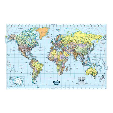 """House of Doolittle Laminated World Map, 33"""" x 50"""""""