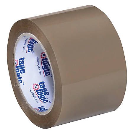 "Tape Logic® #350 Industrial Acrylic Tape, 3"" Core, 3"" x 55 Yd., Tan, Case Of 24"