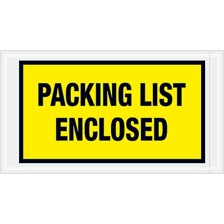 """Tape Logic® Preprinted Packing List Envelopes, Packing List Enclosed, 5 1/2"""" x 10"""", Yellow, Case Of 1,000"""