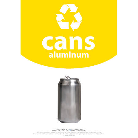 "Recycle Across America Aluminum Cans Standardized Recycling Labels, CANS-1007, 10"" x 7"", Yellow"