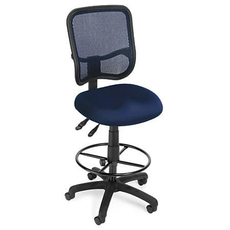 OFM Mesh Comfort Series Fabric Ergonomic Task Chair With Drafting Kit, Navy/Black