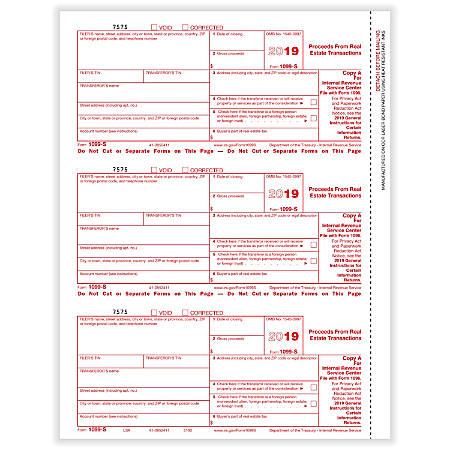 "ComplyRight™ 1099-S Tax Forms, Laser, Federal Copy A, 8-1/2"" x 11"", Pack Of 50 Forms"