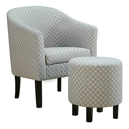 Monarch Specialties Selena Accent Chair With Ottoman, Light Blue