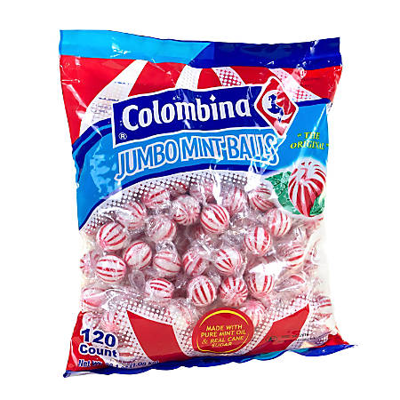 Colombina Jumbo Mint Balls, Peppermint, Approximately 120 Pieces, 3-Lb Bag