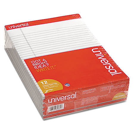 "Universal® Color Perforated Notepads, 8 1/2"" x 11"", Legal Ruled, 100 Pages (50 Sheets), Gray, Pack Of 12"