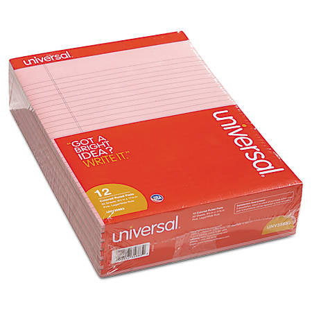 "Universal® Color Perforated Notepads, 8 1/2"" x 11"", Legal Ruled, 100 Pages (50 Sheets), Pink, Pack Of 12"