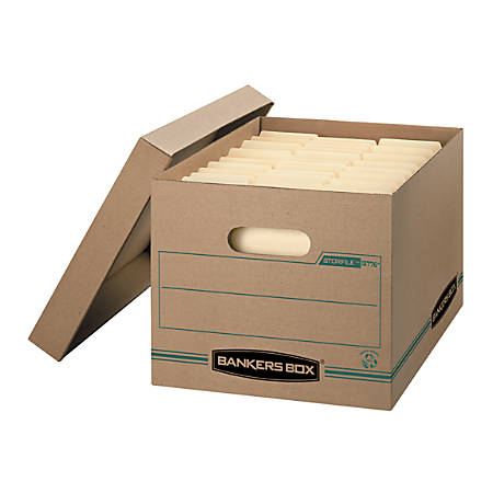 """Bankers Box® Earth Series™ STOR/FILE™ 100% Recycled Kraft Storage Boxes, Lift-Off Lid, 15"""" x 12"""" x 10"""", Letter/Legal, Pack Of 12"""