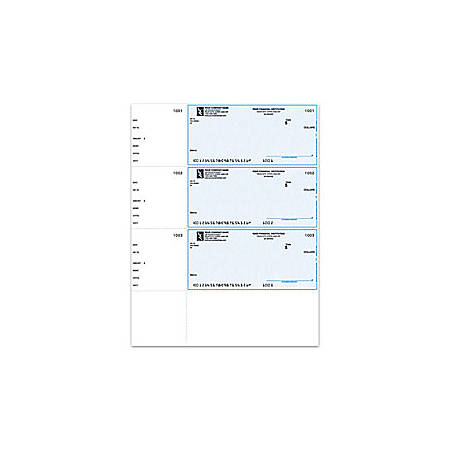"Custom Laser Multipurpose Wallet Checks For Quicken® / Quickbooks® / Microsoft®, 8 1/2"" x 11"", 1 Part, Box Of 250"