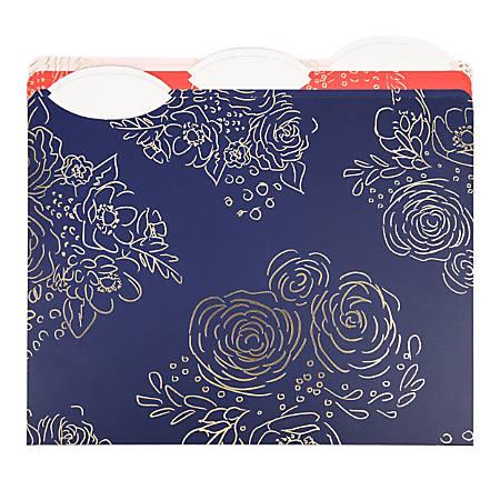 "U Brands Fashion File Folders, 1"" Expansion, Letter Size, Bright Floral, Pack Of 6 Folders"