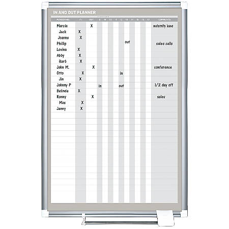 "MasterVision In/Out Magnetic Dry Erase Board, 24""H x 36""W, Aluminum Frame"