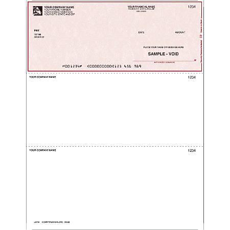 "Custom Laser Multipurpose Voucher Checks For Parsons®, M.Y.O.B®, 8 1/2"" x 11"", 1 Part, Box Of 250"