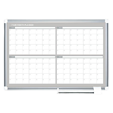 "MasterVision Dry-Erase Calendar Board, 4-Month Grid, 24"" x 36"""
