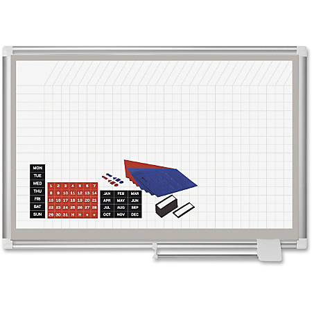 "MasterVision Dry-erase Magnetic Planning Board - 36"" (3 ft) Width x 24"" (2 ft) Height - White Lacquered Steel Surface - Silver Aluminum Frame - Rectangle - 1 Each"