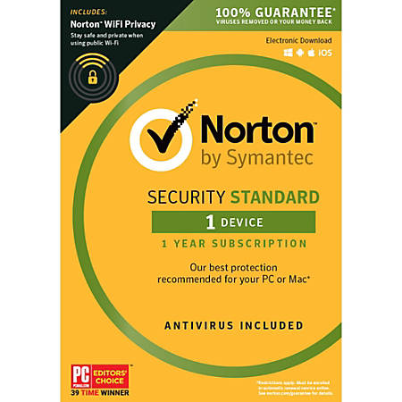 Norton Security Standard 1 User 1 Devices with WiFi privacy, Download Version