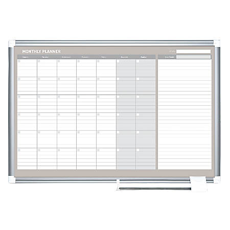 """MasterVision® Dry-Erase Monthly Calendar Board, 24"""" x 36"""""""