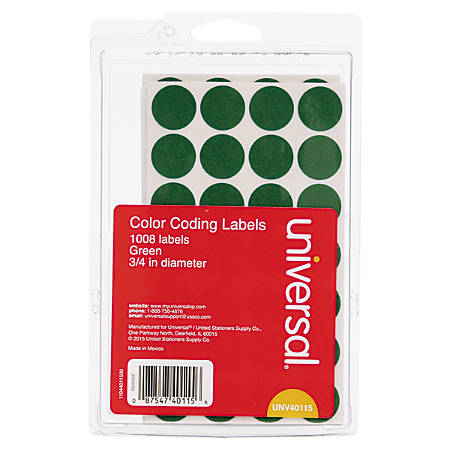 "Universal® Self™Adhesive Removable Color™Coding Labels, UNV40115, 3/4"", Green, Pack Of 1,008"