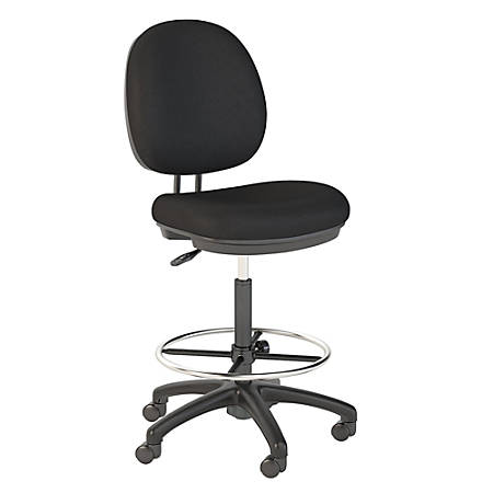 Bush Business Furniture Accord Drafting Stool With Chrome Foot Ring, Black Fabric, Standard Delivery