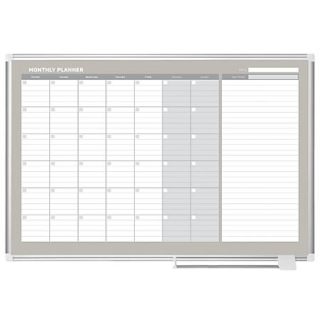 """MasterVision® Dry-Erase Monthly Calendar Board, 36"""" x 48"""""""