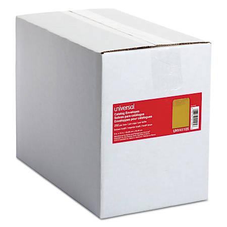"Universal® Catalog Envelopes With Gummed Closure, Center Seam, 24 Lb, 9"" x 12"", Brown Kraft, Box Of 250"