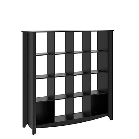 Bush Furniture Aero 16 Cube Bookcase/Room Divider, Classic Black, Standard Delivery