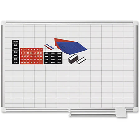 """MasterVision 2"""" Grid Magnetic Gold Ultra Board Kit - Business - White, Silver - Aluminum, Lacquered Steel - Magnetic, Dry Erase Surface, Marker Tray, Mountable"""